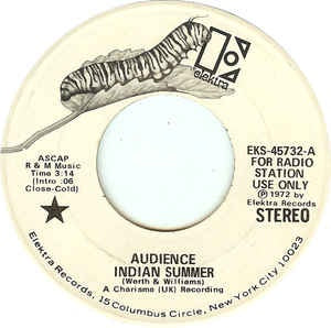 "Audience- Indian Summer / It Brings A Tear- VG+ 7"" Single 45RPM- 1972 Elektra USA- Rock/Prog Rock"