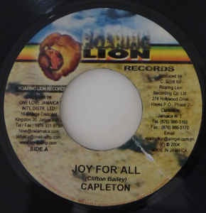 "Capleton / Prophecy Band- Joy For All / Gal Gone Riddim- VG 7"" Single 45RPM- 2004 Roaring Lion Records Jamaica- Reggae"