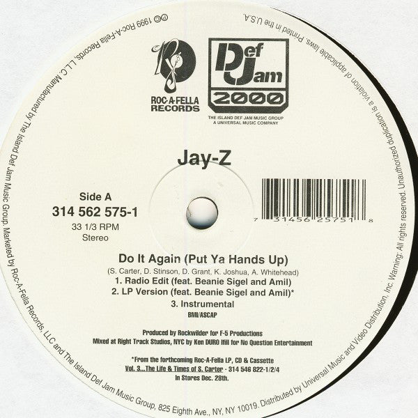 "Jay-Z Feat. Beanie Sigel And Amil - Do It Again (Put Ya Hands Up) / So Ghetto VG+ - 12"" Single 1999 Roc-A-Fella USA 314 562 575-1 - Hip Hop"