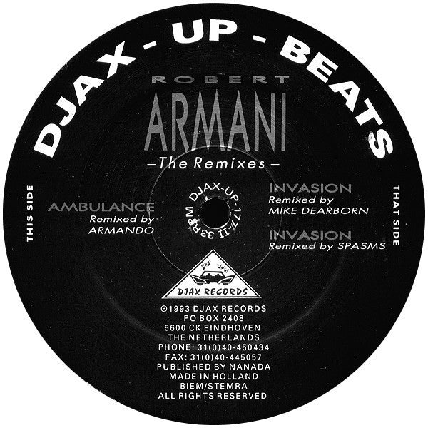 "Robert Armani - The Remixes - VG- (Low Grade) 2x12"" Single (Original Netherlands Press) 1993 - Chicago Acid House/Techno"