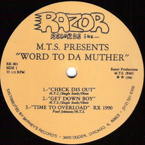 "M.T.S. (Mike Bush) - Word To Da Muther - VG- 12"" Single USA 1990 (Original Press) - Chicago Hip House"