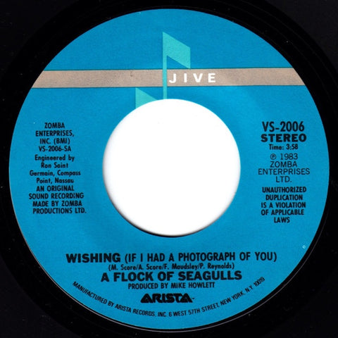 "A Flock Of Seagulls - Wishing (If I Had A Photograph Of You) / Committed - VG+ 7"" Single 45RPM 1983 Jive USA - Synth-Pop"