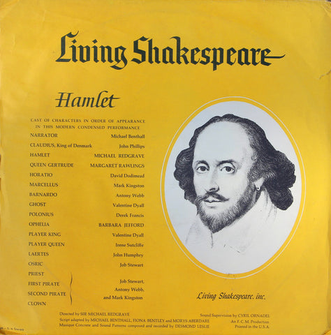 Various ‎– Hamlet (A Modern Condensed Performance)  VG+ 1962 Living Shakespeare Mono Pressing with Book - Radioplay / Spoken Word