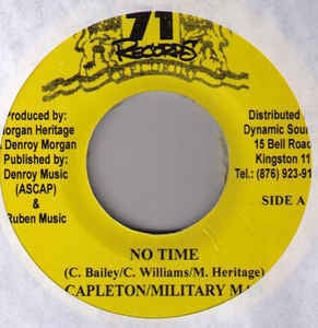 "Capleton / Military Man- No Time / Rastramental- VG+ 7"" Singe 45RPM- 71 Records Jamaica- Reggae"