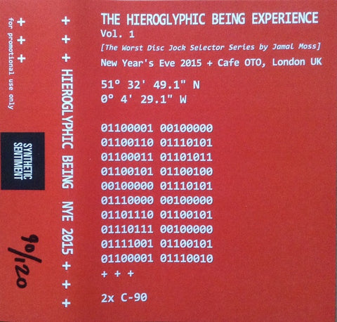 Hieroglyphic Being ‎– The Hieroglyphic Being Experience Vol. 1 - New Cassette Tape - Synthetic Sentiment 2x Cassette Red Edition Hand-Numbered to 120 - Acid House / Deep House / Experimental