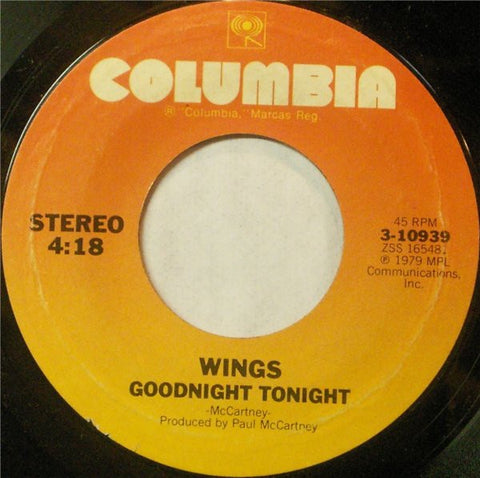 "Wings ‎– Goodnight Tonight / Daytime Nightime Suffering - VG+ 7"" Single 45 Record 1979 USA CBS Vinyl - Pop Rock"