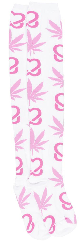 ef4672d1a HUF - Women s White Pink Breast Cancer  Plantlife  Thigh High Socks ...