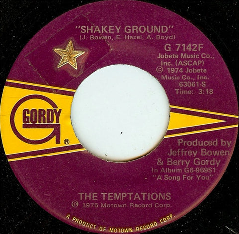 "The Temptations ‎– Shakey Ground / I'm A Bachelor - VG  7"" Single 45rpm 1975 Gordy US - Soul / Funk"