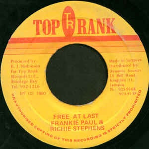"Frankie Paul & Richie Stephens- Free At Last- VG 7"" Single 45RPM- 1990 Top Rank Jamaica- Reggae/Dancehall"
