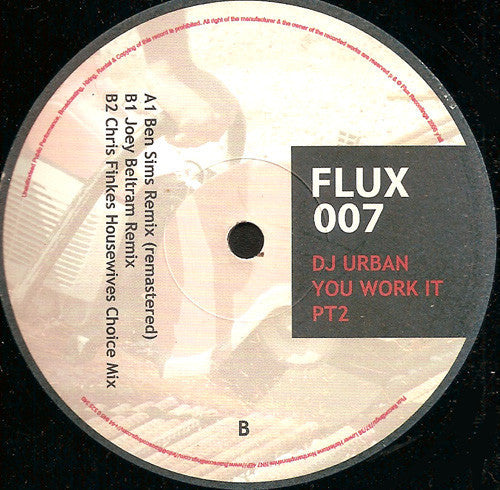 "DJ Urban ‎– You Work It (Remixes by Ben Sims, Joey Beltram & Chris Finke)- Mint- 12"" Single (UK Import) 2006 - Techno"