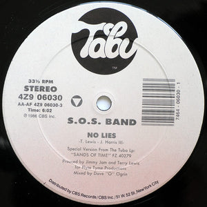 "S.O.S. Band - No Lies VG+ - 12"" Single 1986 Tabu USA 4Z9 06030 - Funk"
