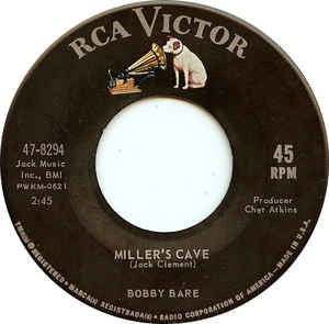 "Bobby Bare ‎- Miller's Cave - VG+ 7"" 45 Single 1963 USA - Country"