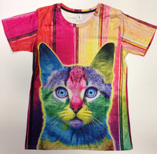 Trippy Multi-Color Cat - 88% Polyester / 12% Spandex Blend T-Shirt