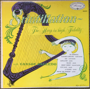Carlos Salzedo ‎– Scintillation The Harp In High Fidelity - VG+ Lp Record 1954 Mercury Mono USA (jørn Wiinblad Cover) - Classical