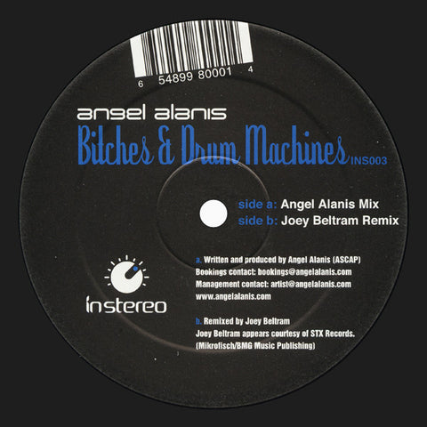 "Angel Alanis - Bitches & Drum Machines VG+ 12"" Single Record 2004 USA - Chicago House / Tech House"