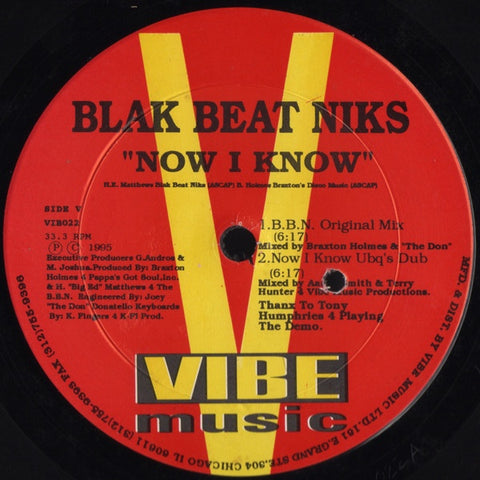 "Blak Beat Niks (Ron Trent)‎– Now I Know / He's The Man - VG+ 12"" Single Record 1995 Vibe Music USA Vinyl - Chicago House"