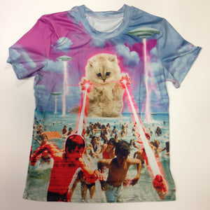 Cat Laser Attacking Beach - 88% Polyester / 12% Spandex Blend T-Shirt
