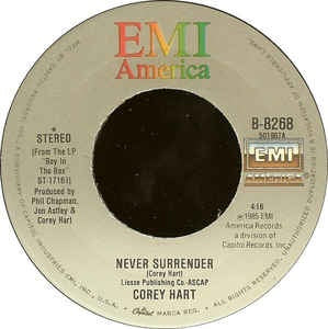 "Corey Hart- Never Surrender / Water From The Moon- VG+ 7"" Single 45RPM- 1985 EMI America USA- Rock/Pop"