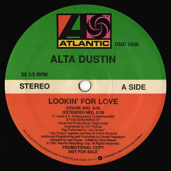 "Alta Dustin - Lookin' For Love - New 12"" Single USA 1991 - House/Freestyle"