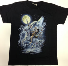 Wolf and Profile Under Moon Black 100% Cotton T-Shirt