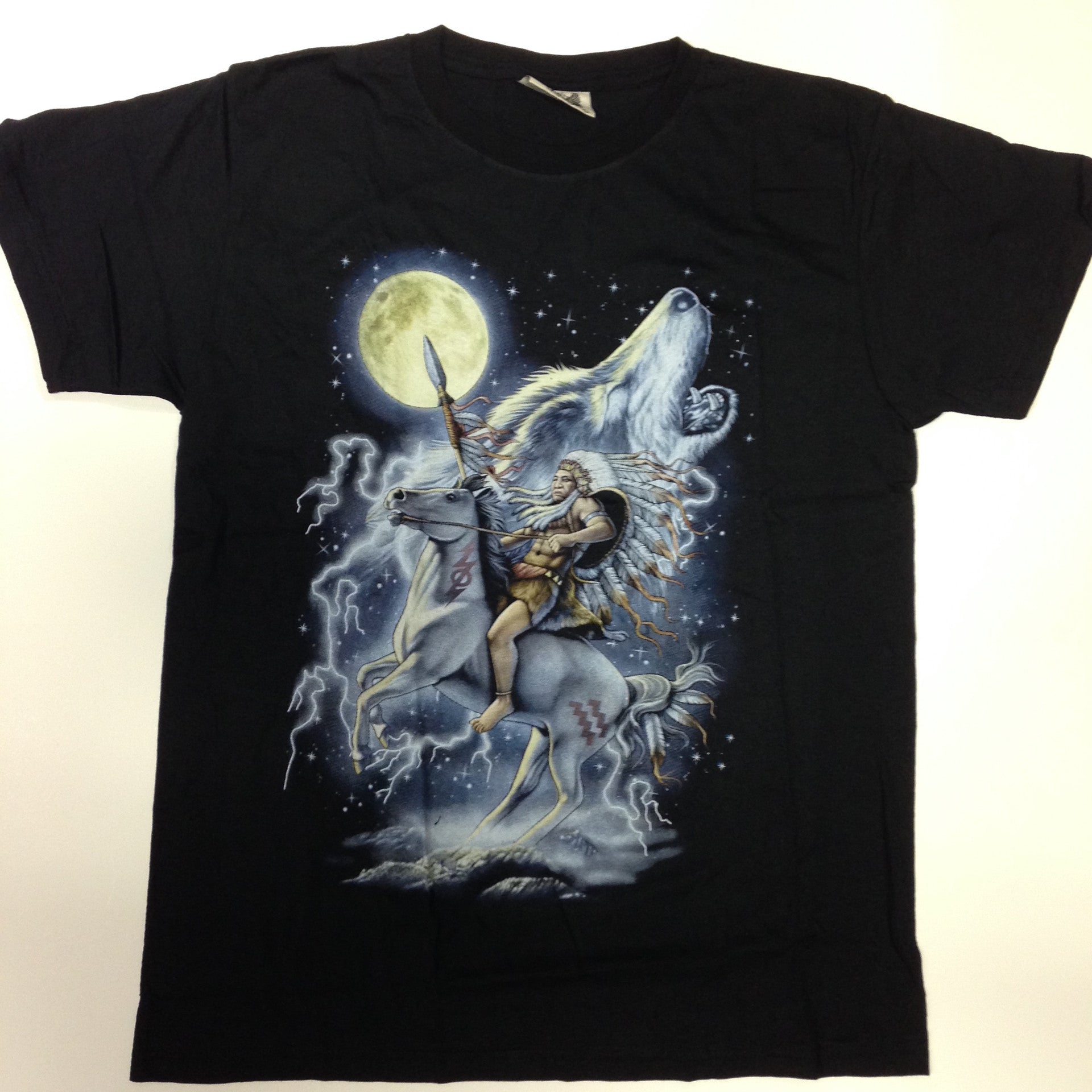Native American on Horse w/Wolf - 100% Cotton Black T-Shirt