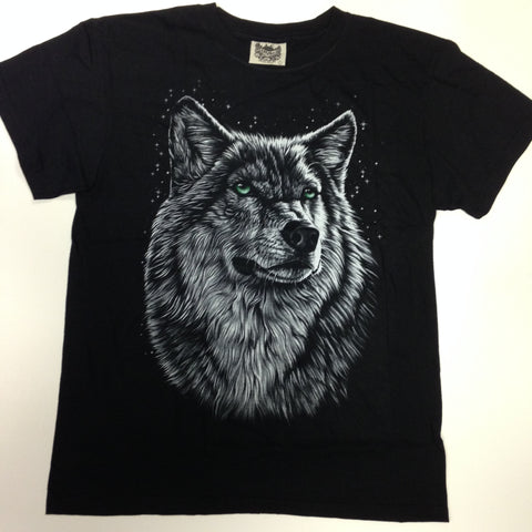 Green-Eyed Wolf Black 100% Cotton T-Shirt