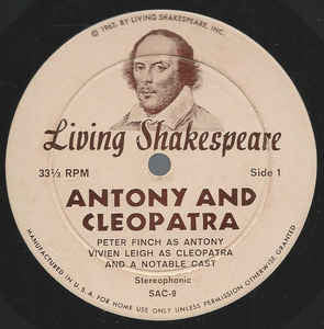 Various ‎– Antony and Cleopatra (A Modern Condensed Performance) VG+ 1962 Living Shakespeare Mono Pressing with Book - Radioplay / Spoken Word