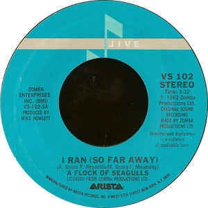 "A Flock Of Seagulls- I Ran (So Far Away) / Pick Me Up- VG+ 7"" Single 45RPM- 1982 Jive USA- Rock/Synth-Pop"