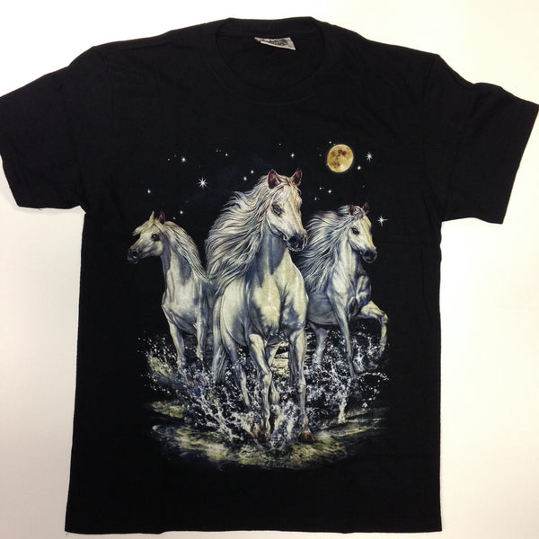 3 White Horses Under Red Moon 100% Cotton Black T-Shirt - Shuga Records Chicago