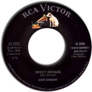 "Don Gibson- Sweet Dreams / The Same Street- VG+ 7"" Single 45RPM- 1960 RCA Victor USA- Folk/Country"