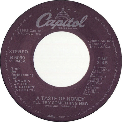 A Taste Of Honey ‎– I'll Try Something New / Good-Bye Baby - VG+ 45rpm 1980 USA - Soul / Funk