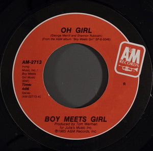 "Boy Meets Girl - Oh Girl / Kissing, Falling, Flying - VG+ 7"" Single 45RPM 1985 A&M USA - Synth-Pop"