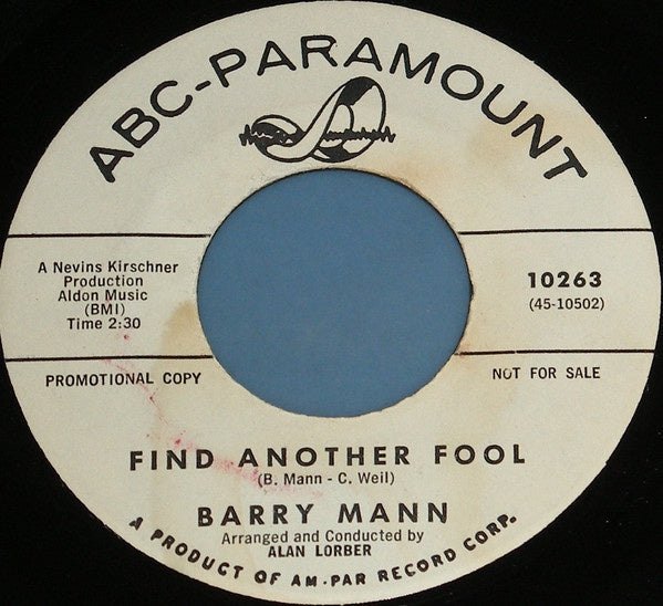 "Barry Mann ‎- Little Miss U.S.A. / Find Another Fool - VG 7"" Single 45 RPM 1961 USA Promo - Rock"