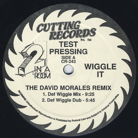 "2 In A Room ‎– Wiggle It - VG+ 12"" Single Record 1990 Cutting USA Test Press Promo Vinyl - House"