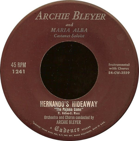 "Archie Bleyer - Hernando's Hideaway / S'il Vous Plait - VG+ 7"" Single 45RPM 1954 Cadence USA - Jazz"