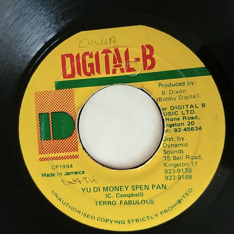 "Terro Fabulous ‎– Yu Di Money Spen Pan / Version - VG+ 7"" Single 45rpm 1994 Digital_B Jamaica - Reggae"
