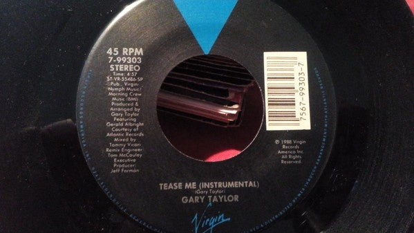 "Gary Taylor ‎- Tease Me - VG+ 7"" Single 45 RPM 1988 USA - Funk / Soul"