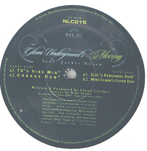 "Glenn Underground Featuring Jackie Green - Moving - Mint- 12"" Single USA 1999 - Chicago Deep House"