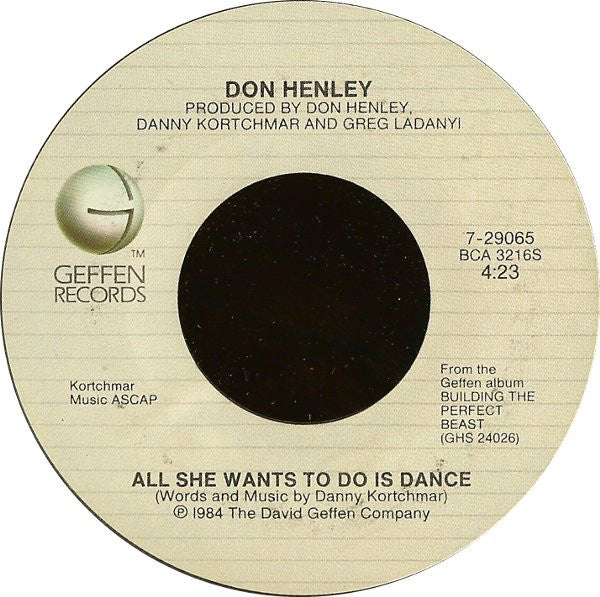 "Don Henley- All She Wants To Do Is Dance / Building The Perfect Beast- VG+ 7"" Single 45RPM- 1984 Geffen Records USA- Electronic/Rock/Pop"
