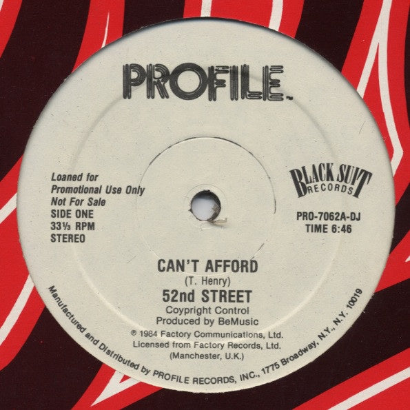 "52nd Street ‎– Can't Afford - VG 12"" Single Record 1984 USA Promo Original Vinyl - Freestyle / Electro / Synth Pop"