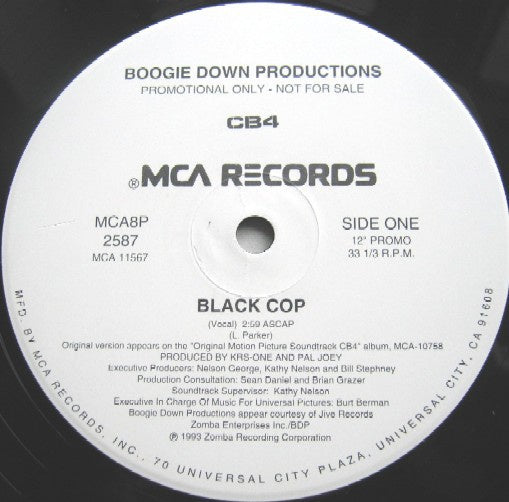 "Boogie Down Productions ‎- Black Cop - Mint- 12"" Single White Label Promo 1993 USA - Rap / Hip Hop"