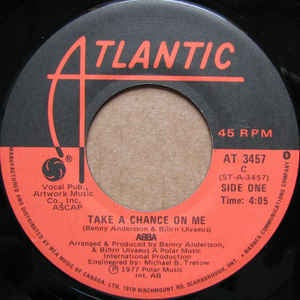 "ABBA- Take A Chance On Me / I'm A Marionette- M- 7"" SIngle 45RPM- 1978 Atlantic USA- Funk/Soul/Disco"