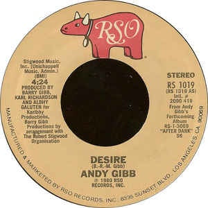 "Andy Gibb - Desire / Waiting For You - VG+ 7"" Single 45RPM 1980 RSO USA - Disco"
