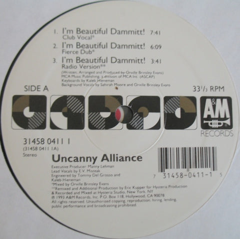 "Uncanny Alliance ‎– I'm Beautiful Dammitt! - Mint- 12"" Single Record 1993 USA Promo - House"