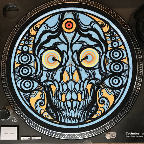Shuga Records 2019 Limited Edition Vinyl Record Slipmat Joseph Realubit - Trippy Skull Slip Mat