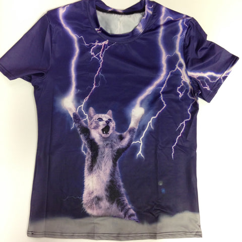 Cat Lightning T-Shirt - 88% Polyester / 12% Spandex Blend