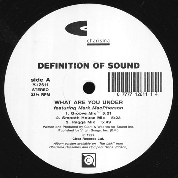 "Definition Of Sound - What Are You Under Mint- - 12"" Single 1992 Charisma USA - Deep House"