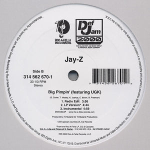 "Jay-Z - Anything / Big Pimpin' VG+ - 12"" Single 2000 Roc-A-Fella USA White Label Promo DEFR-10545-1 - Hip Hop"