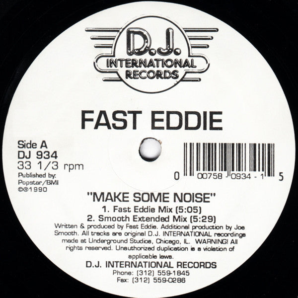 "Fast Eddie - Make Some Noise - VG- 12"" Single USA 1990 - Chicago House"