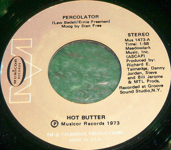 "Hot Butter ‎- Percolator - Mint- 7"" Single 45 RPM 1973 USA - Synth Pop"